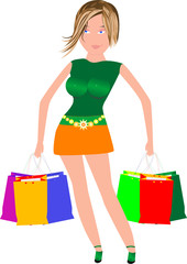 sexy woman with many shopping bags in her hands after sale
