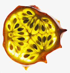 Close up of African horned melon slice