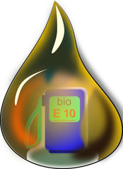 Tropfen Erdöl  E10 mit Tankstelle