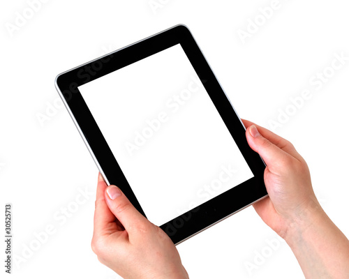 digital tablet on hands with white screen