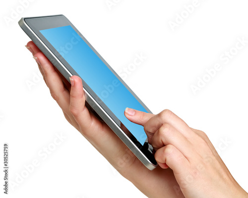 digital tablet with hands