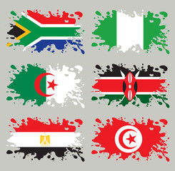 Splash flags set Africa. Each in separated layer.
