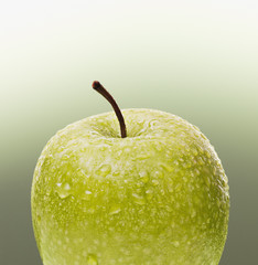Close up of juicy green apple