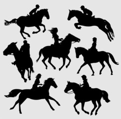 silhouettes of horse riders - vector