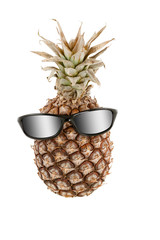 Pineapple as human head and sunglasses with gray gradient
