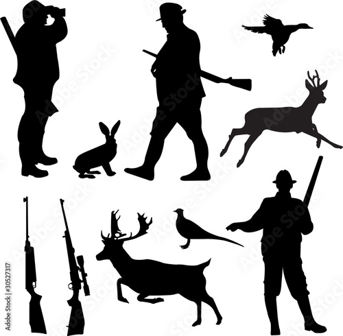 hunting collection silhouettes - vector - 30527317