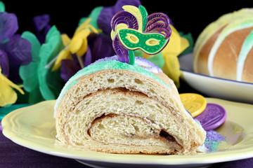 One slice of Kings Cake in macro