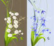 Two pretty romantic banners with spring flowers