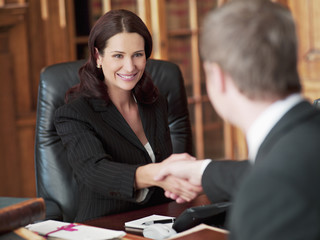 Smiling lawyers shaking hands in office