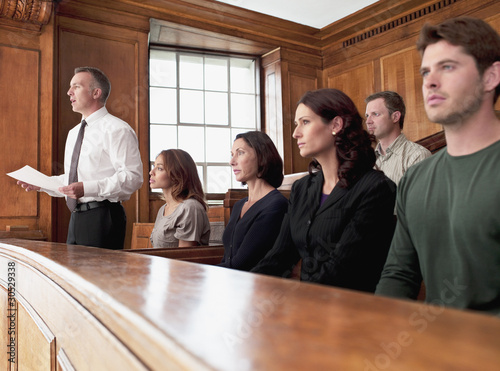 Jury sitting in courtroom