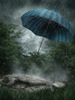 Deszczowy krajobraz z parasolem