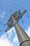Modern power line. Energy issues poster