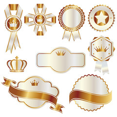 set of gold and white emblem