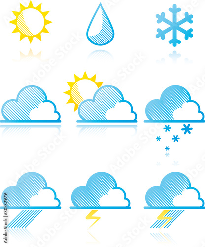 weather forecast icons. Weather forecast icons.