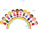 Illustration of Kids Standing on Top of a Rainbow