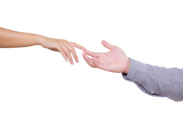man and woman touching fingers isolated