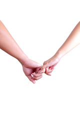 man and womam holding hands isolated