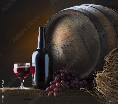 still life with blackstrap and old barrel