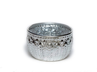 silver Bowl from Thailand  on white background
