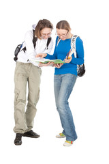 Two Students with backpack and notebook.