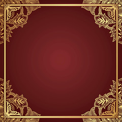 Gold Floral Frame Background