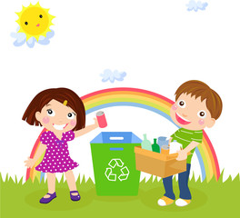 Recycling boy and girl
