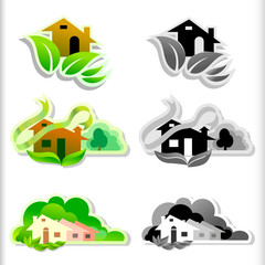 Eco Friendly House ICON set Color and B/W