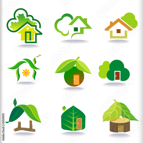 NEW- BIO GREEN HOUSE ICON SET