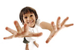 Positive cute kid trying to catch you poster