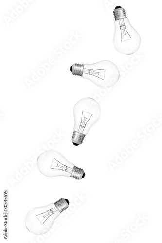 five bulbs in action on white background