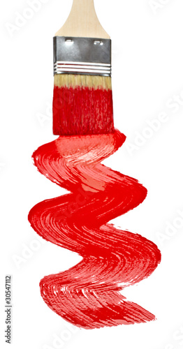 red paint line trace and brush