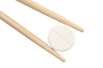chopsticks keep a pill.