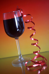 Ribbon and wine