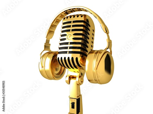 Classic microphone and headphones - 30548983