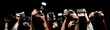 Raised hands holding different photocameras - 30549156