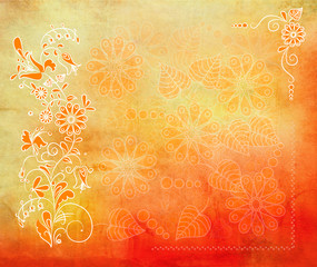 orange grunge background with copy space and flowers