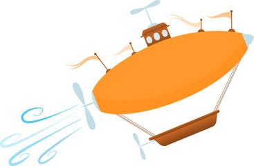 Bright Cartoon Fantasy Airship Sores Up