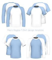 Vector. Men's raglan t-shirt design template (front & back).