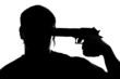 Silhouette of man shooting himself