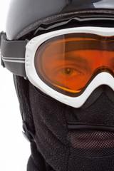 Snowboarder in balaclava