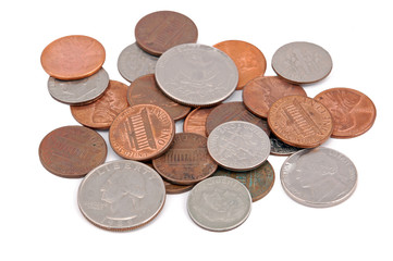 Pile of American coin, isolated on white background