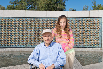 Grandfather Granddaughter Wheelchair WWII Memorial