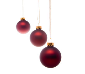 Pastel Red Christmas Balls Hanging Isolated
