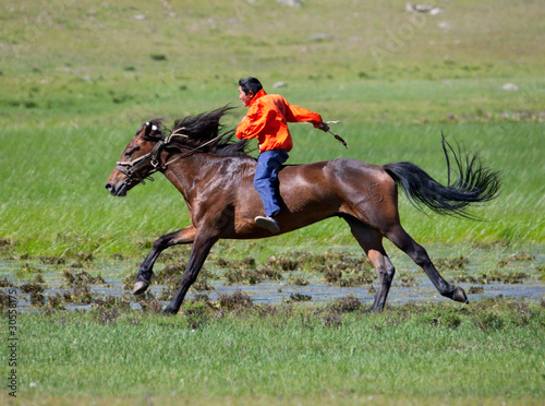 on horseback across the steppe