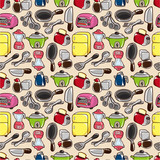 Fototapety seamless kitchen pattern