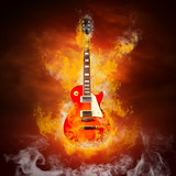 Fototapety Rock guita in flames of fire