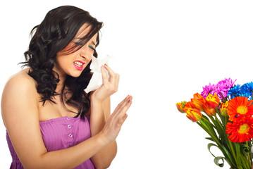 Woman having spring flowers allergy