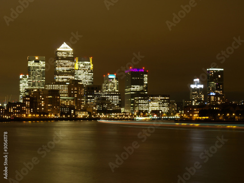 Nightscene of the office buildings at Canary Wharf.