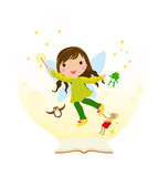 Open fairytale book and fairy flying above pages poster