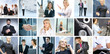 A collage of business images with young people and success